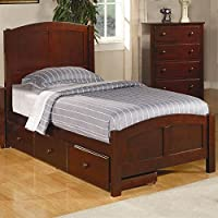 Coaster 400291T Parker Casual Wood Twin Size Bed Brown Cherry Finish
