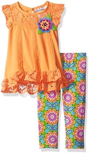 Girls Rare Editions (Rare Editions Baby Girls' Lace Trim Knit Legging Set, Peach/Multi, 12M)