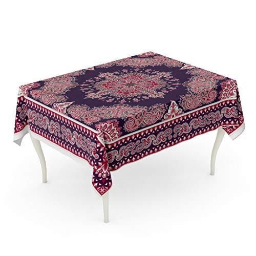 Tarolo Rectangle Tablecloth 52 x 70 Inch Vintage Paisley Bandana Silk Neck Scarf Kerchief Pattern for Ornamental Western Abstract Table - Ornamental Silk
