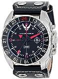 Wrist Armor Men's WA333 C3 Stainless Steel Analog Display Swiss Quartz GMT Watch with Black Leather Strap offers