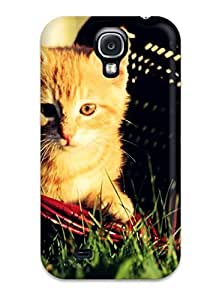 High Quality Yellow Cat On A Red Basket Case For Galaxy S4 / Perfect Case
