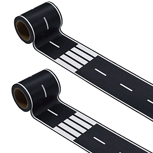 Road Tape,2 Rolls Road Tape Black Total 66 Feet,2.4 in x 66 ft Straight Curve Track Traffic Signs-Kids Gifts