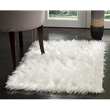 huahoo white faux sheepskin area rug chair cover seat pad plain shaggy area rugs for bedroom