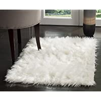 HUAHOO White Faux Sheepskin Area Rug Chair Cover Seat Pad Plain Shaggy Area Rugs For Bedroom Sofa Floor Ivory White (2 x 5 Bedside Rug)