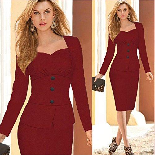 Usure Manches Longues Coupe Slim Classique Des Femmes Au Travail Robe Midi Moulante Rouge 1