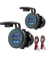 [2 Pack] 12V USB-Uitgang, Quick Charge 3.0 Dual USB-Stopcontact Met Aanraakschakelaar, Waterdichte 12V/24V USB-Pplader Voor Snel Opladen DIY-Kit Voor Auto Boot Marine Bus Truck RV motorfiets, enz.