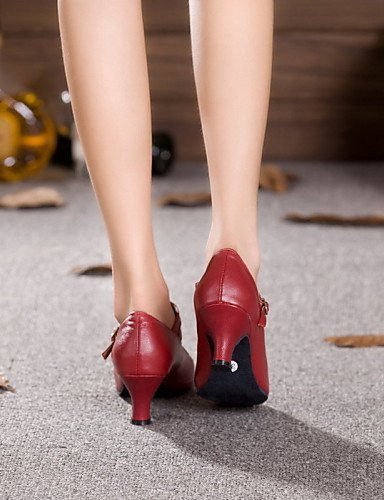 Shangyi Non Dance Red Latin Black Patent Cuban Customizable Heel Leather Shoes Burgundy Women's drnRqrwxT