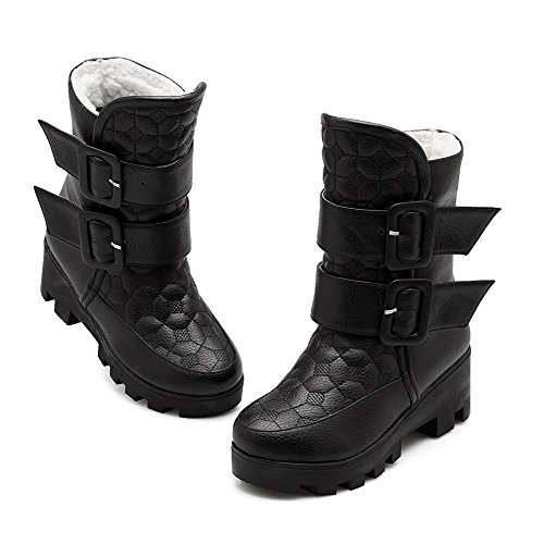Toe Kitten Round Low Top Heels Soft Loop Hook AgooLar Women's Closed Boots Material Black and q8wT1zY