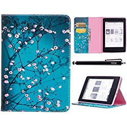 Amazon Kindle Paper White Case, iYCK Leather Stand Flip Folio [Card Holder] Protective Shell Wallet Case Cover for Amazon Kindle Paper White (fits All Paperwhite Generations) - Plum Blossom