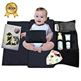 Portable Diaper Changing Pad, Waterproof Baby Travel Mat, Extra long Diaper Clutch Holds Wipes, Creams, and Diapers, Parenting Ebook and Bib included!