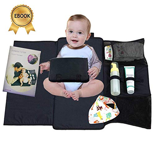 Portable Diaper Changing Pad, Waterproof Baby Travel Mat, Extra long Diaper Clutch Holds Wipes, Creams, and Diapers, Parenting Ebook and Bib included! by Novayakus Industries