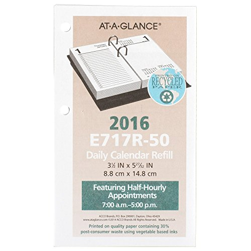 AT-A-GLANCE Daily Desk Calendar 2016 Refill, 12 Months, January - December, 3.5 x 6 Inch Page Size (E717R50)