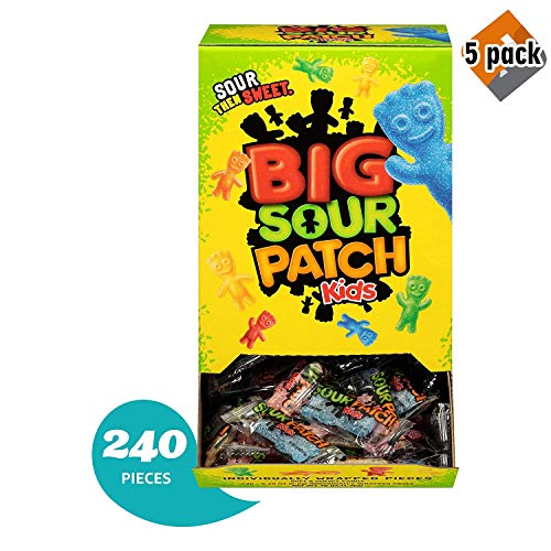 240 Count Bulk SOUR PATCH KIDS Sweet and Sour Halloween Candy, Trick or Treat Individually Wrapped Packs, 5 Pack -