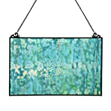 River of Goods 16422 10.75''H Single Pane Mottled Blue Tiffany Style Stained Glass Window Panel