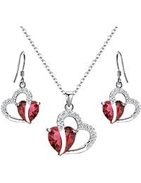 925 Sterling Silver Full Cubic Zirconia A Heart Full of Eternal Love Bridal Pendant Necklace Hook Earrings