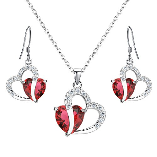 Necklace Hook Earring (EleQueen 925 Sterling Silver Full Cubic Zirconia A Heart Full of Eternal Love Bridal Pendant Necklace Hook Earrings Ruby Color)
