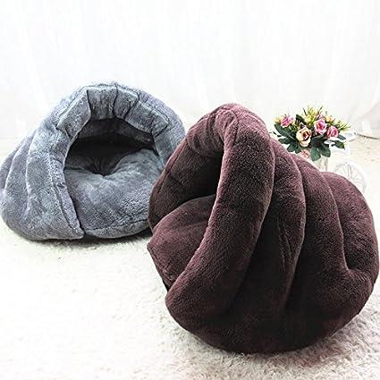 OWIKAR Casa de gato pequeña estilo hamburguesa suave cálido gato gato casa perro cachorro cueva nido mascota saco de dormir cama con cojín extraíble ...