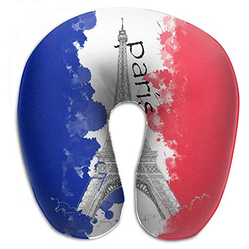 Yeqova French Flag and The Eiffel Tower U Shaped Pillow Neck Head Cushion Support Rest Outdoors Car Office Home Travel Pillow