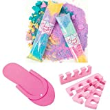 Spa Party Supplies for Girls Includes Pedicure Flip Flops, Toe Separators, and Magic Dust Fizz Pops