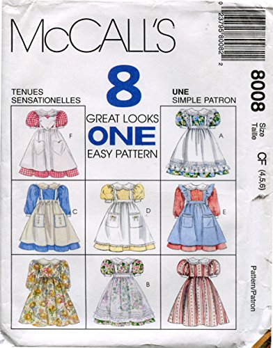 Girls Pinafore Pattern - McCall's Pattern 8008 ~ Girls' Dress and Pinafore ~ Sizes 4-5-6