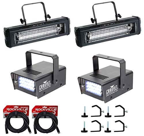 American DJ Mega Flash DMX 800W Strobe Light+2) Mini Strobes+4) Clamps+Cables by American DJ