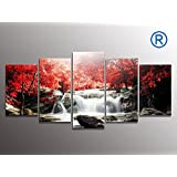youkuart kx9906 5-Piece Red Woods Waterfall Canvas Print Paintings for Wall and Home Décor
