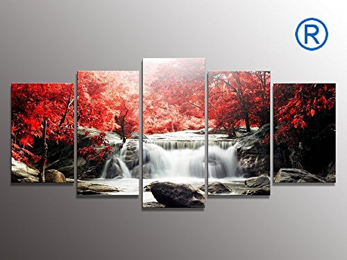 youkuart kx9906 5-Piece Red Woods Waterf