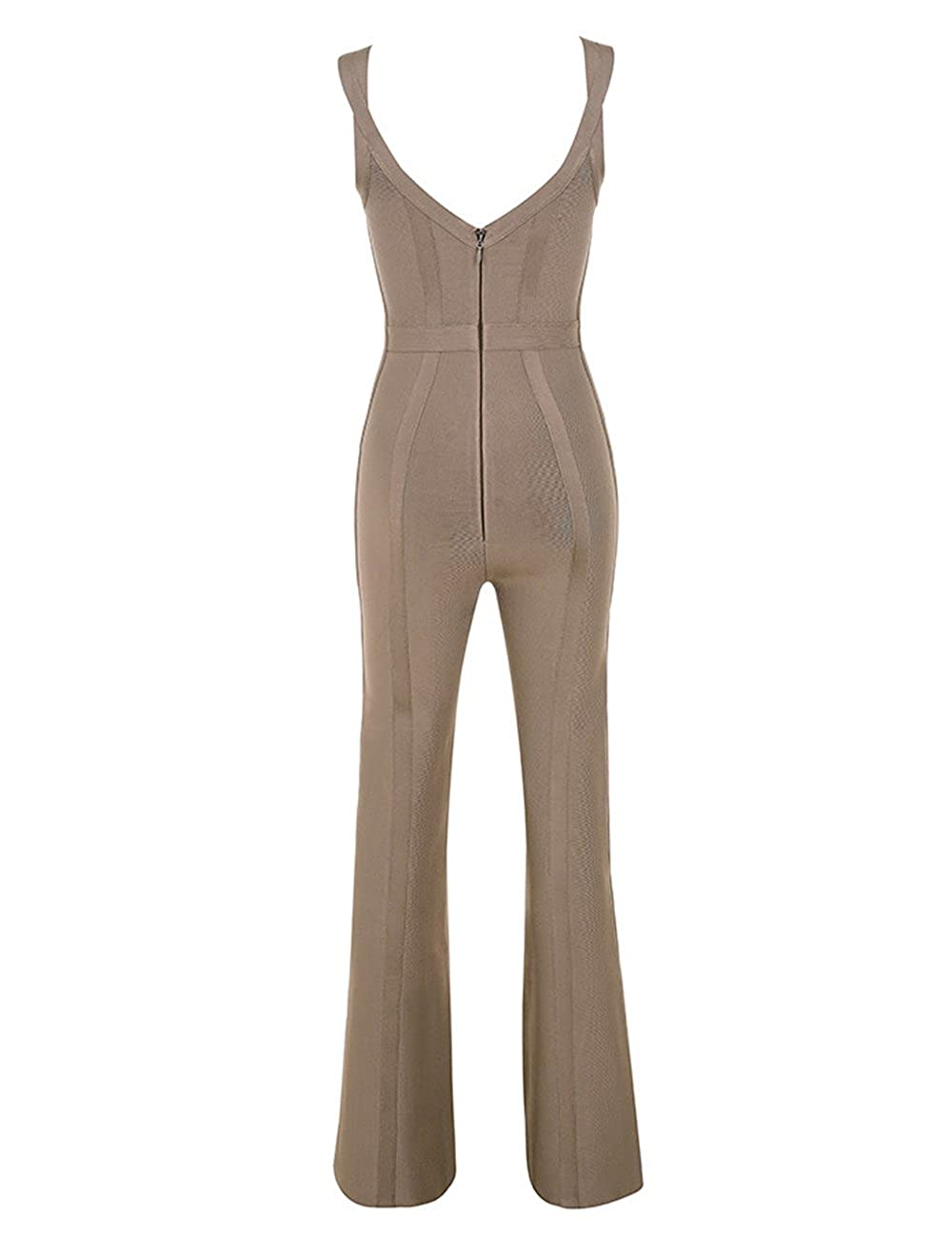 Amazon.com  UONBOX Women s Rayon Sleeveless V Neck Long Bandage Jumpsuit  Rompers for Club Party  Clothing 0b96e4d28