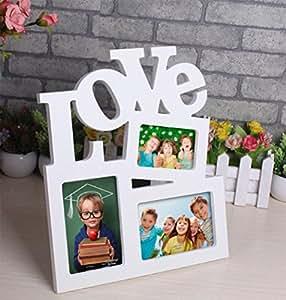 liuhoue Marco De Fotos De Amor Creativa Combinación, Amor Blanco Siamés Portaretrato Marco De Fotos
