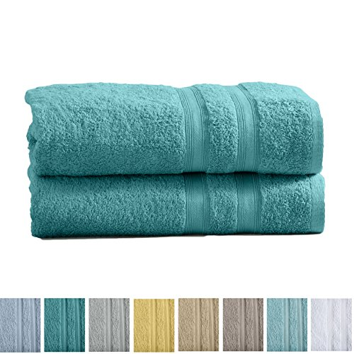 Great Bay Home 2-Pack Premium 100% Cotton Bath Towel Set (28 x 52 inch) Multipack For Home Spa Pool Gym Use. Quick-Drying and Extra Absorbent. Emelia Collection. (Dusty Turquoise)