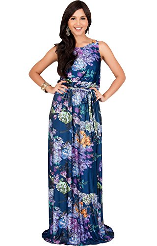 KOH KOH Plus Size Women Long Sleeveless Summer Floral Print Casual Cute Boho Bohemian Maternity Flowy Sundress Sundresses Gown Gowns Maxi Dress Dresses, Navy Blue and Purple XL 14-16