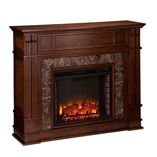 Southern Enterprises Highgate Faux Stone Fireplace TV Stand in Maple (Maple Fireplace Mantel)