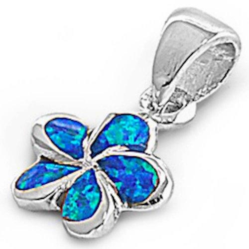 Australian Opal Pendant - Oxford Diamond Co Blue Australian Opal Plumeria .925 Sterling Silver Pendant Necklace SPO5738