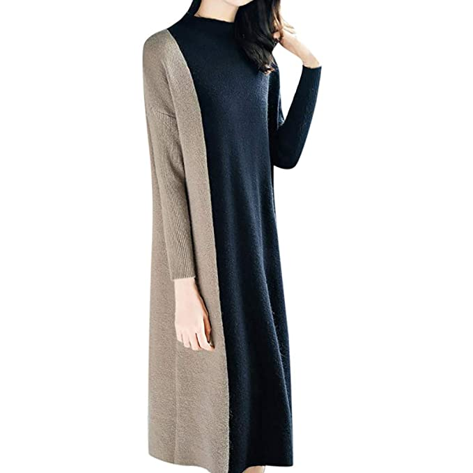 4b9694e8656 HKDGID Women Loose Sweater Dress High Neck 3 4 Sleeve Patchwork Elegant  Midi Dress Black