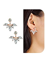 Feelontop® Leaf Crystal Lotus Flower Ear Jacket Earrings Chic Gold Sivler Rosegold Tone with Jewelry Pouch