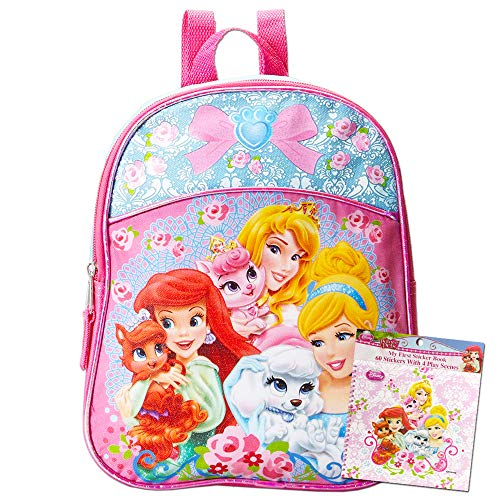Disney Princess Backpack for Toddler Girls Preschool Set -- Deluxe Disney Princess Mini Backpack with Stickers, 12 Inch (School Supplies)