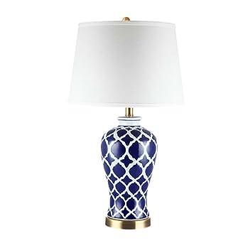 ZCJB Tischleuchte Keramik Tischlampe Schlafzimmer Nachttischlampe Klassisch  Blau Und Weiß Porzellan American Style Wohnzimmer Schreibtischlampe Nacht