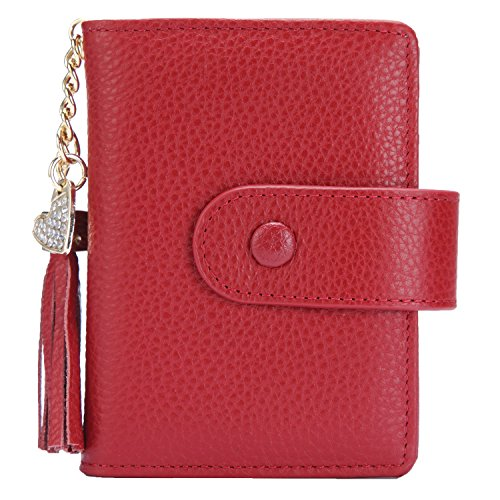 Women's Mini Credit Card Case Wallet with ID Window and Card Holder purse 9 Colors(Red)