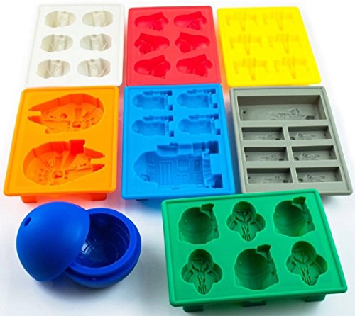 Set of 8 Star Wars Silicone Ice Trays / Chocolate Molds: Stormtrooper, Darth Vader, X-Wing Fighter, Millennium Falcon, R2-D2, Han Solo, Boba Fett, and Death Star (Candy Ice Mold)