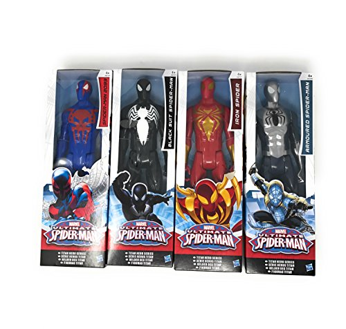 4 LOT Marvel Titan Hero Series Ultimate Spider-Man Movie Spiderman Series, Spiderman 2099, Iron Spider, Black Suit Spider Man and Armoured Spiderman size12 inch