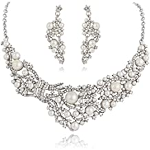 Ever Faith Bridal Branch Ivory Color Simulated Pearl Jewelry Set Clear Austrian Crystal N02991-1