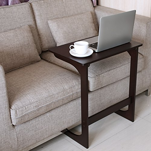 HOMFA Bamboo Snack Table Sofa Couch Coffee End Table Bed Side Table Laptop Desk Modern Furniture for Home Office, Retro Color (Sofa Laptop Desk Table)