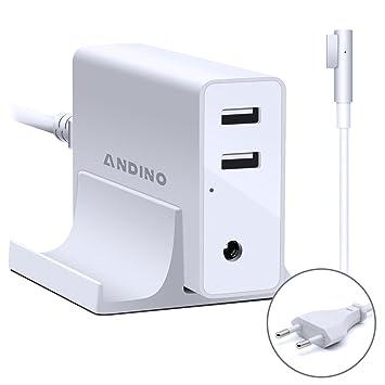 Adaptador de corriente Magsafe 1 Cargador de L- Forma, Andino 60W Adaptador para Ordenador portátil Apple MacBook Pro 13 Pulgada, 2 puertos USB para ...