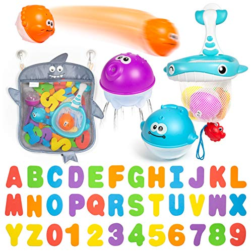 Comfylife Baby Bath Toy Organizer – Bath Toy Storage for Shower – Bathtub Toy Organizer Includes Foam Bath Toys (Numbers…