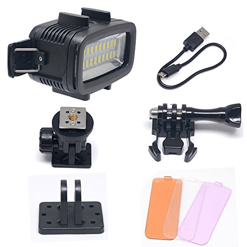 Venidice 40m/130ft Rechargeable Dimmable Waterproof Video LED Light 6W 20 LEDs 700LM with 1900mAh for Gopro HTC XIAOYI SJ5000 SJ6000 & other Action Camera &DSLR Camera