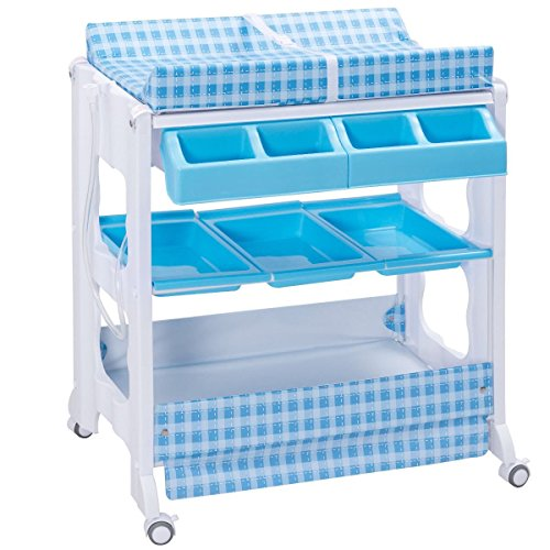 Costzon Baby Bath and Changing Table, Diaper Organizer for Infant with Tube & Cushion (Blue+White) by Costzon