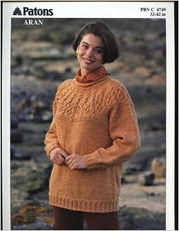 1b4bfcd9d PATONS 4749 knitting pattern LADIES ARAN CABLE YOKE SWEATER (32-42in)   Amazon.co.uk  Patons  Books