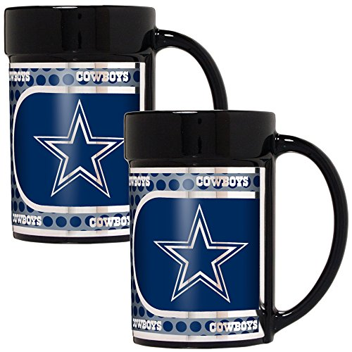Great American Products NFL Dallas Cowboys Coffee Mug Set with Metallic Graphics (2-Piece), 15-Ounce, (Dallas Cowboys Black Coffee Mug)