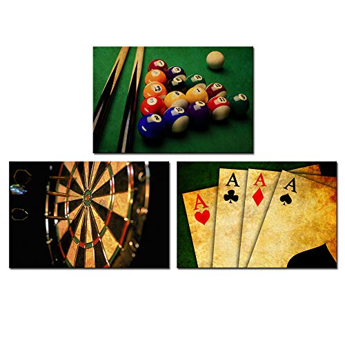 Nachic Wall - Vintage Wall Art for Living Room Retro Poker Darts Billiards Pictures Wall Art Print Leisure Sport Painting for Game Room Man Cave Wall Decoration Gallery Canvas Wrapped - Billiard Art