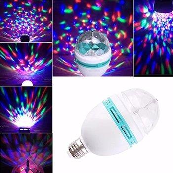 Lampada de Led Giratoria Colorida RGB Com Bocal Bola Maluca Para Festa (SU0664)